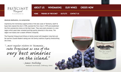 www.freycinetvineyard.com.au - image of website