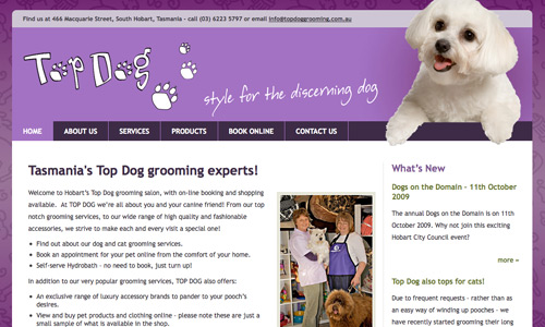 www.topdoggrooming.com.au - image of website